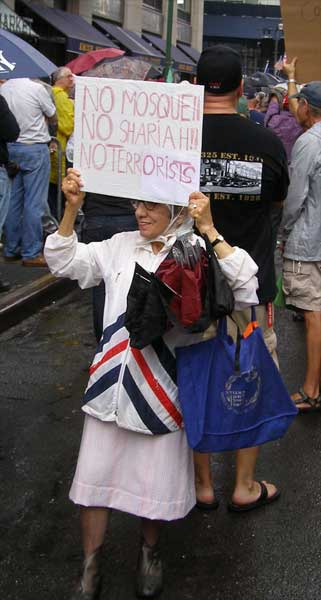 Lady at anti-mosque demonstration